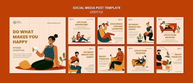 Posty Dotyczące Stylu życia W Mediach Społecznościowych Darmowe Psd