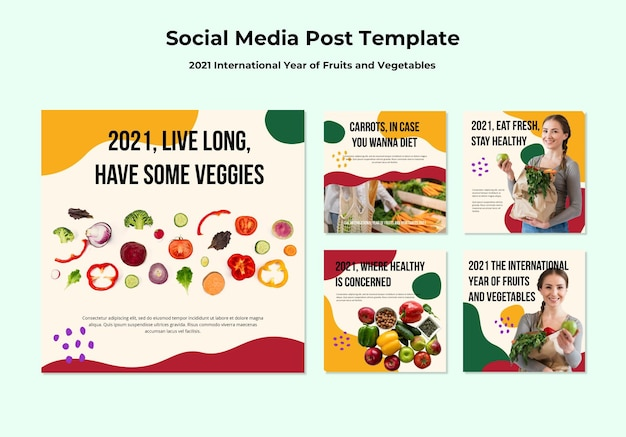 Posty na instagramie dotyczące międzynarodowego roku owoców i warzyw