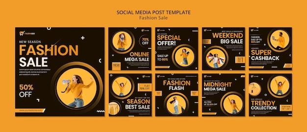 Posty na instagramie dotyczące sprzedaży mody
