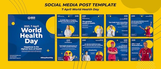 Posty na instagramie dotyczące światowego dnia zdrowia