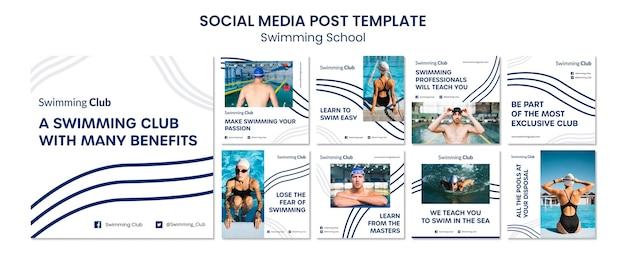 Posty na instagramie dotyczące szkoły pływania