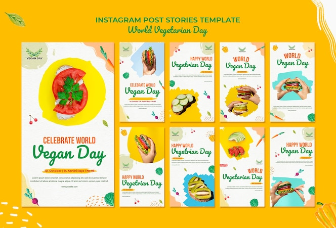 Posty na instagramie światowego dnia wegetariańskiego