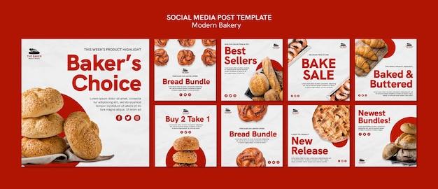Posty na instagramie ustawione dla biznesu gotowania chleba