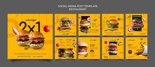 Posty na instagramie w restauracji burger