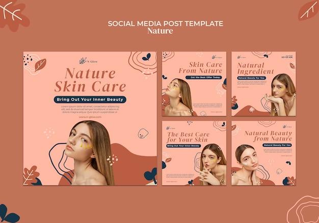 Posty na instagramie z naturalnymi produktami do pielęgnacji skóry