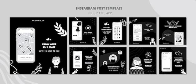 Posty w mediach społecznościowych aplikacji soulmate