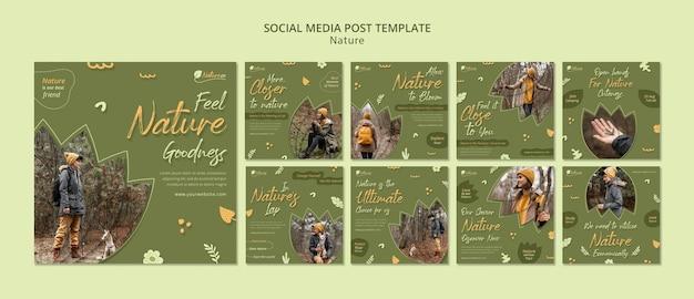 Posty w mediach społecznościowych badające naturę