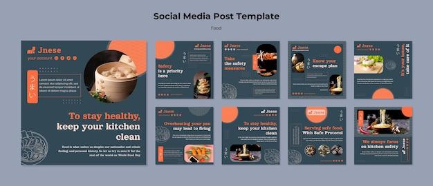 Posty w mediach społecznościowych dotyczące bezpieczeństwa w kuchni