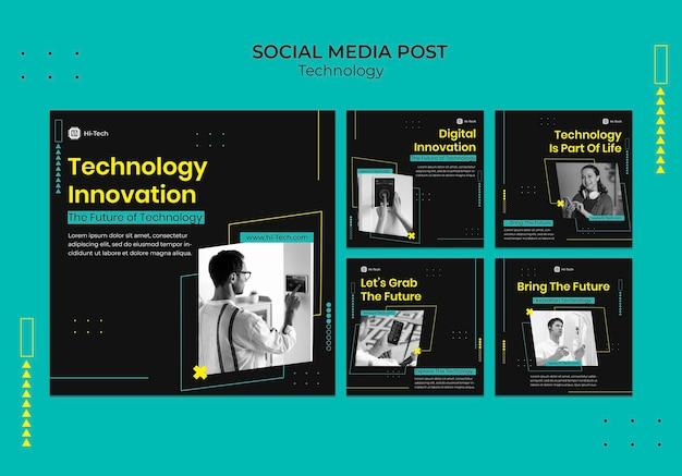 Posty w mediach społecznościowych dotyczące innowacji cyfrowych