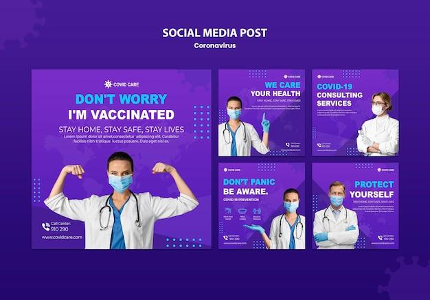 Posty w mediach społecznościowych dotyczące koronawirusa