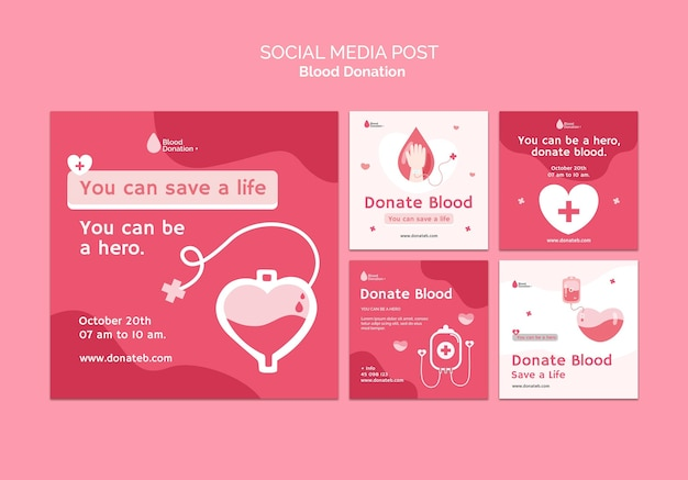 Posty w mediach społecznościowych dotyczące oddawania krwi
