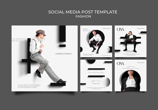 Posty w mediach społecznościowych dotyczące projektowania mody