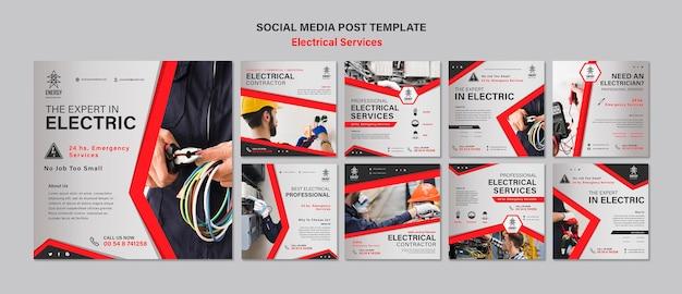 Posty w mediach społecznościowych dotyczące usług elektrycznych