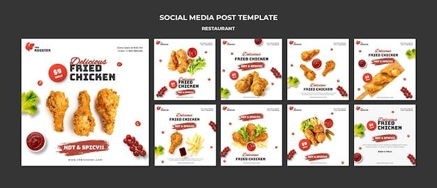 Posty w mediach społecznościowych fast food