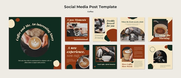 Posty w mediach społecznościowych kawiarni