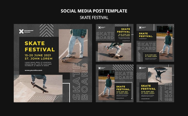 Posty w mediach społecznościowych na temat festiwalu skate