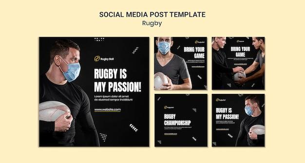 Posty w mediach społecznościowych o rugby
