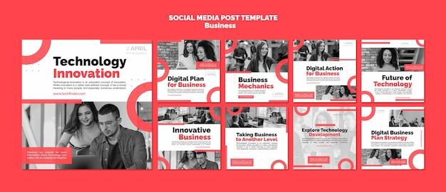 Posty w mediach społecznościowych poświęcone innowacjom biznesowym