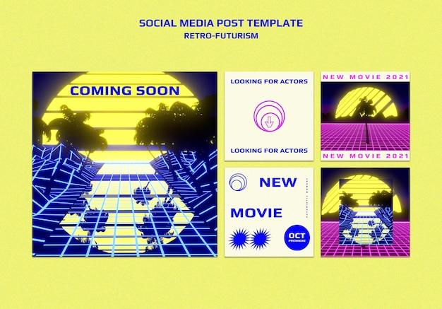 Posty W Mediach Społecznościowych Retro-futuryzmu Darmowe Psd