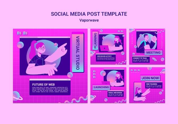 Posty w mediach społecznościowych vaporwave