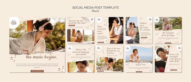 Posty w mediach społecznościowych w aplikacji muzycznej