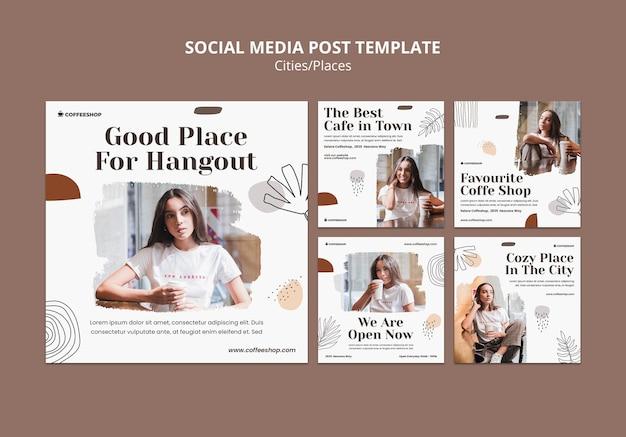 Posty w mediach społecznościowych w kawiarni