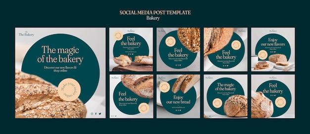 Posty w mediach społecznościowych w sklepie piekarniczym