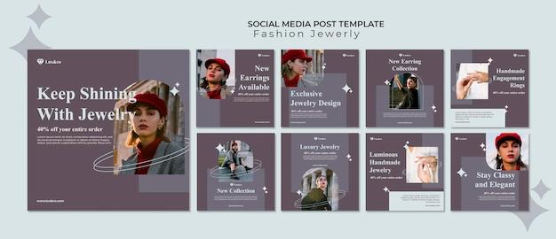 Posty w mediach społecznościowych z biżuterią modową