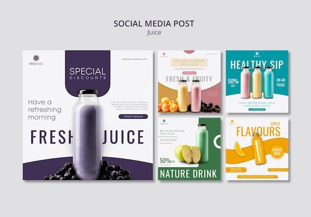Posty w mediach społecznościowych z butelkami soku