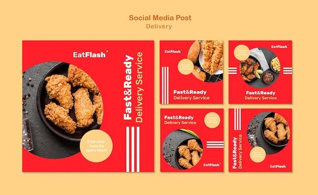 Posty w mediach społecznościowych z dostawą jedzenia