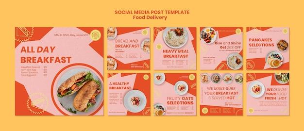 Posty w mediach społecznościowych z dostawą śniadania