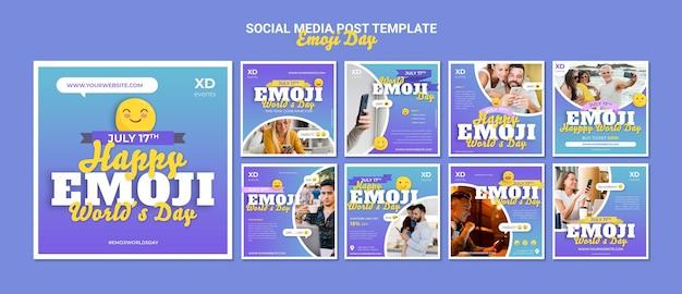 Posty w mediach społecznościowych z emoji