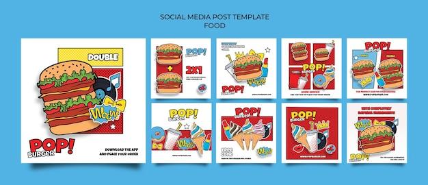 Posty w mediach społecznościowych z jedzeniem pop-art