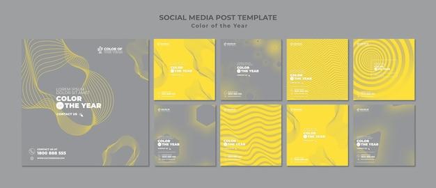 Posty w mediach społecznościowych z kolorem roku