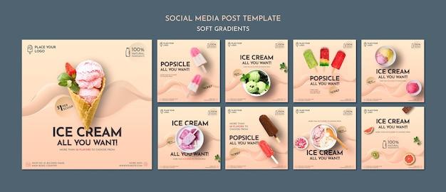 Posty w mediach społecznościowych z miękkimi gradientowymi lodami