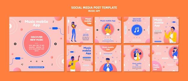 Posty w mediach społecznościowych z muzyką mobilną
