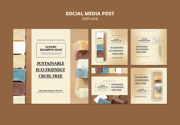 Posty w mediach społecznościowych z mydłem do szamponu