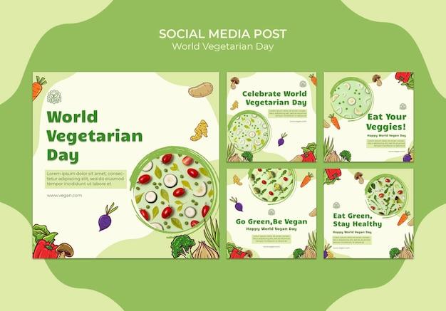 Posty w mediach społecznościowych z okazji światowego dnia wegetarianizmu