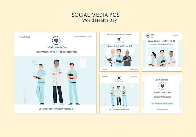 Posty w mediach społecznościowych z okazji światowego dnia zdrowia