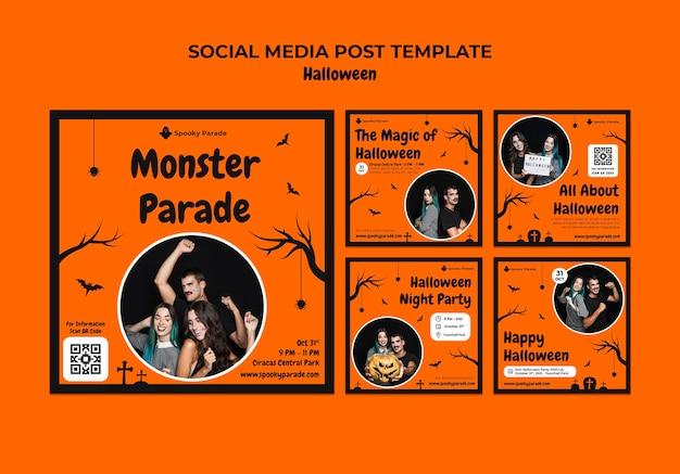 Posty w mediach społecznościowych z paradą potworów na halloween