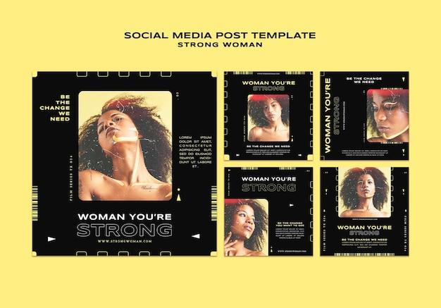 Posty w mediach społecznościowych z silnymi kobietami