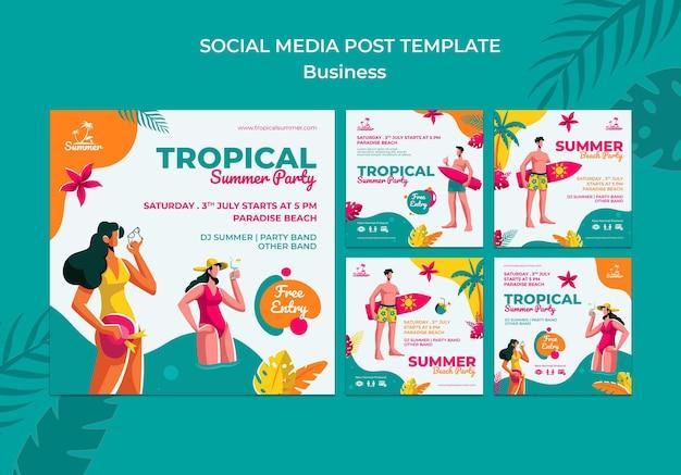 Posty w mediach społecznościowych z tropikalną letnią imprezą