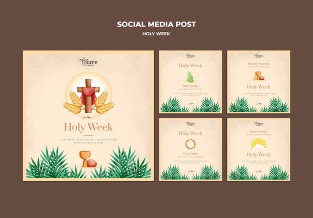 Posty w mediach społecznościowych z wielkiego tygodnia