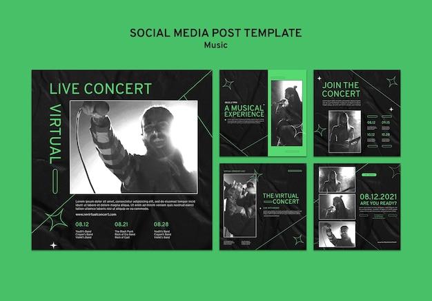 Posty w mediach społecznościowych z wirtualnym koncertem