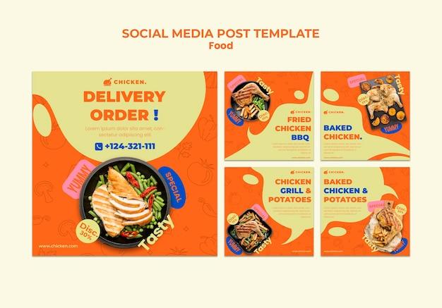 Posty w mediach społecznościowych z zamówieniem dostawy
