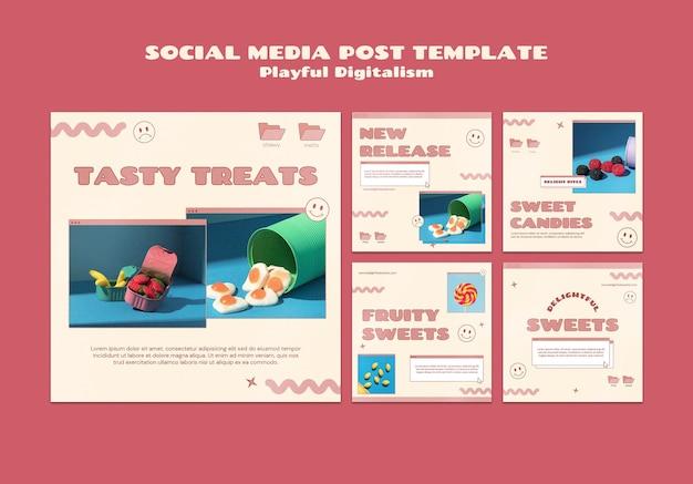 Posty w mediach społecznościowych ze słodyczami