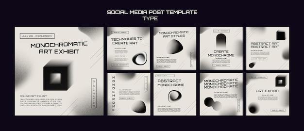 Posty w mediach społecznościowych ze sztuką monochromatyczną