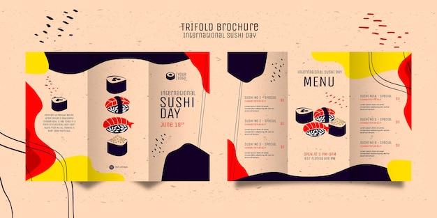 Potrójna broszura kreatywnego dnia sushi