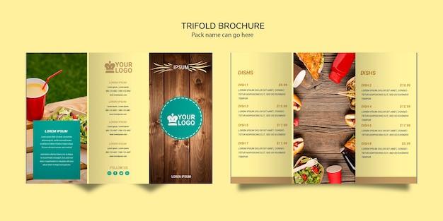 Potrójne broszury menu żywności restauracji
