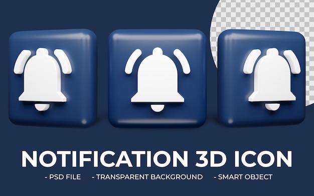Powiadomienie alart ikona renderowania 3d na białym tle